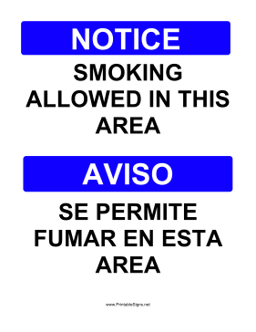 Smoking Allowed Bilingual Sign
