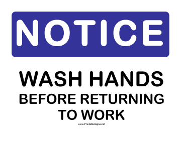 Notice Wash Hands Sign