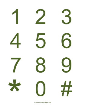 Numbers Green on White Sign