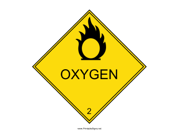 Oxygen Warning Sign Sign