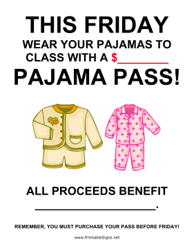 Pajama Day Fundraiser Sign-Blank Sign