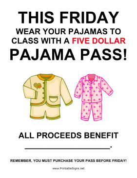 Pajama Day Fundraiser Sign
