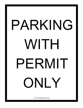 Park With Permit Only Sign