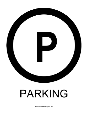 Parking Circle with caption Sign