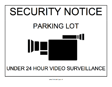Parking Lot Under Surveillance Sign