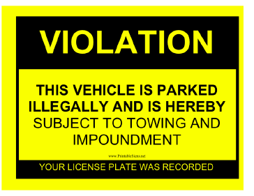 Printable Parking Violation Sign