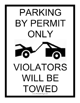 Permit Parking Tow Warning Sign
