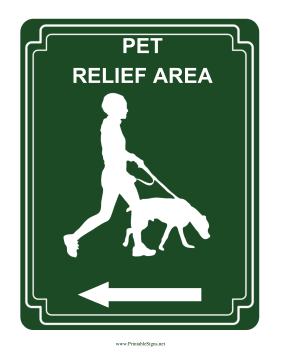 Pet Relief Area Left Sign