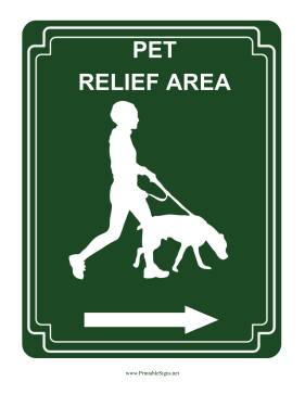 Pet Relief Area Right Sign