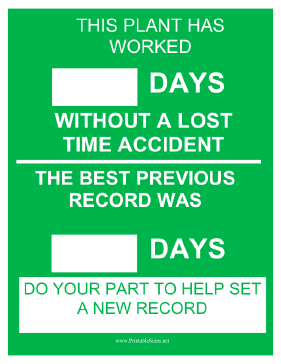 Plant Safety Record Sign