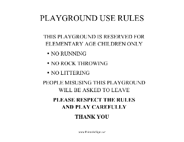 Playground Elementary Age Children Sign