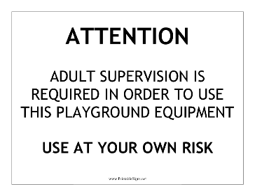 Playground Equipment Sign