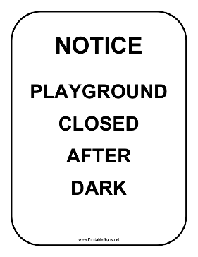Playground Notice Sign