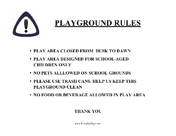 Playground Use Rules Sign