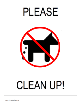 Clean Up - Dog Sign
