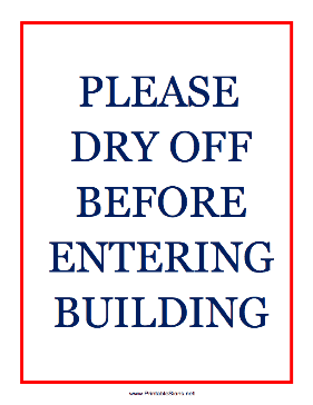 Please Dry Off Sign
