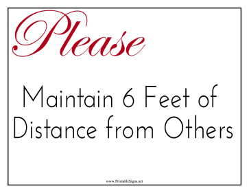 Please Maintain Distance Sign