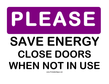 Please Save Energy Sign