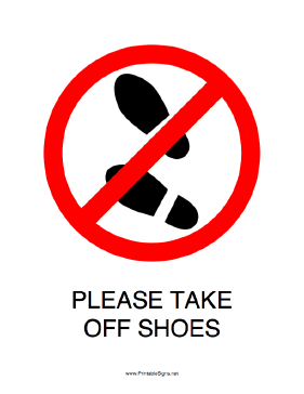 Please Take Off Shoes Sign