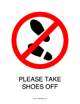 Printable please take shoes off sign Taking shoes off in house etiquette
