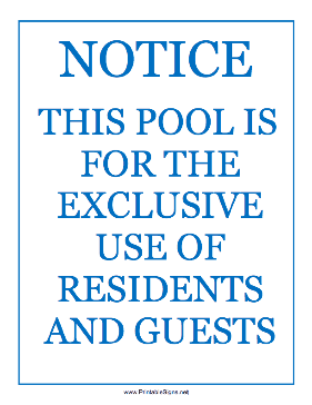 Pool For Residents Guests Sign