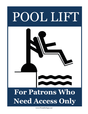 Pool Lift Sign Sign