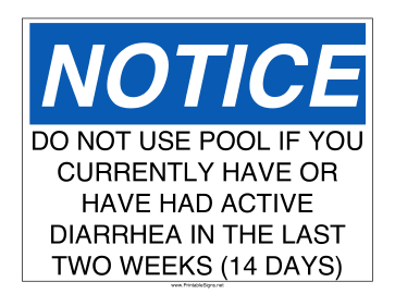 Pool Sign Diarrhea Sign