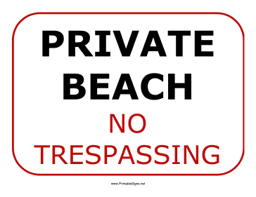Private Beach Sign Sign