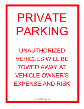 Private Parking Tow Warning Sign