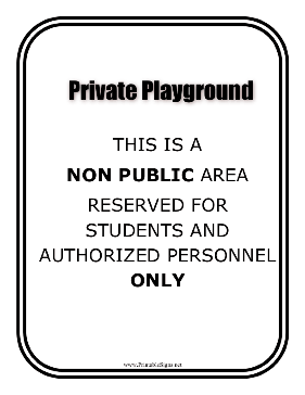 Private Play Ground Sign