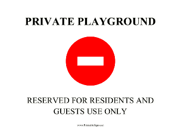 Private Playground Sign