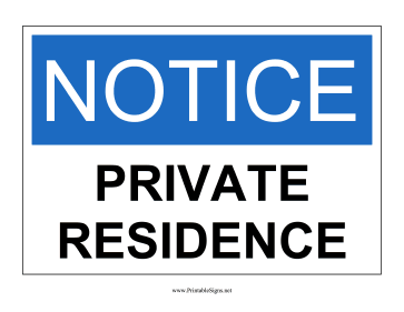 Private Residence Sign Sign
