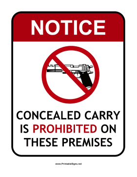 Prohibited Concealed Carry Sign Sign