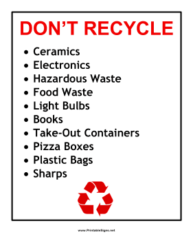 Recyclables Exclusions Sign
