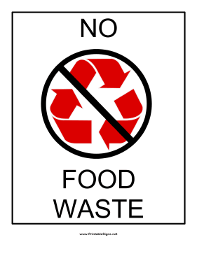 printable recyclables no food waste sign
