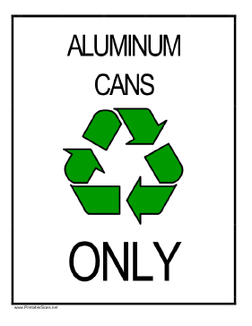 Recycle Aluminum Cans Sign
