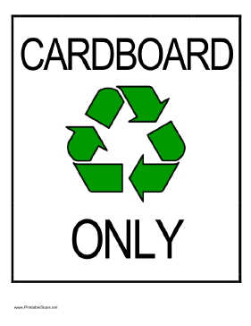 Recycle Cardboard Sign