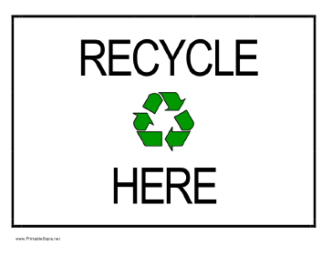 graphic regarding Recycling Sign Printable named Recycling Signs or symptoms