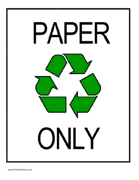 Recycle Paper Sign