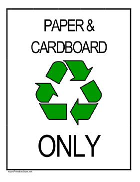 Recycle Paper and Cardboard Sign