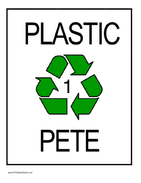Recycle Plastic type 1 Sign