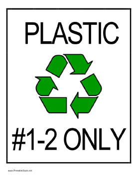 Recycle Plastic types 1 and 2 Sign