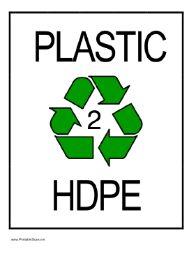 Recycle Plastic type 2 Sign