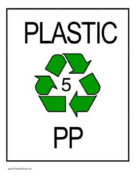 Recycle Plastic type 5 Sign