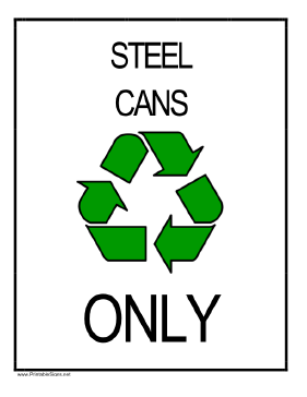 Recycle Steel Cans Sign