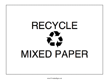 Recycle Mixed Paper Sign