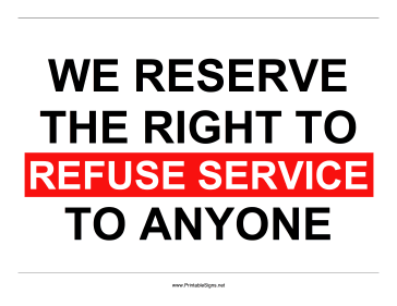 Refuse Service Sign Sign