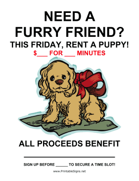Rent a Puppy Fundraiser Sign-Blank Sign