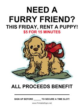Rent a Puppy Fundraiser Sign