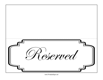 Reserved Table Sign Sign